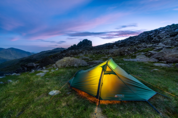 Wilding camping on Glyder Fach